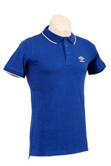 Blue polo shirt with white trim and logo