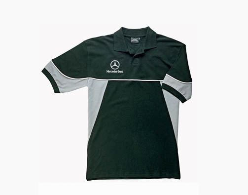 Black and white t-shirt with Mercedes branding