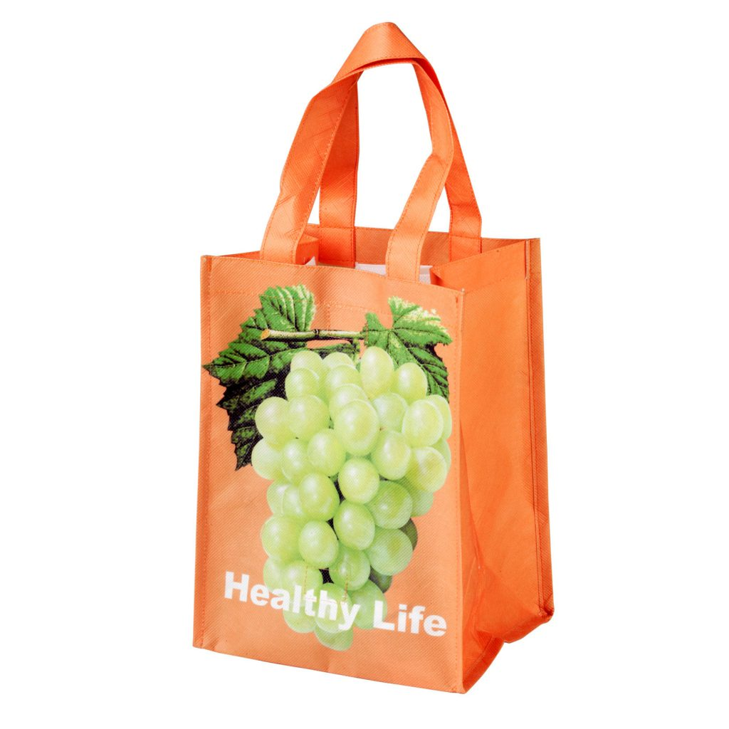 Promotional Non Woven Bag showing a photo of grapes and the words 'Healthy Life'