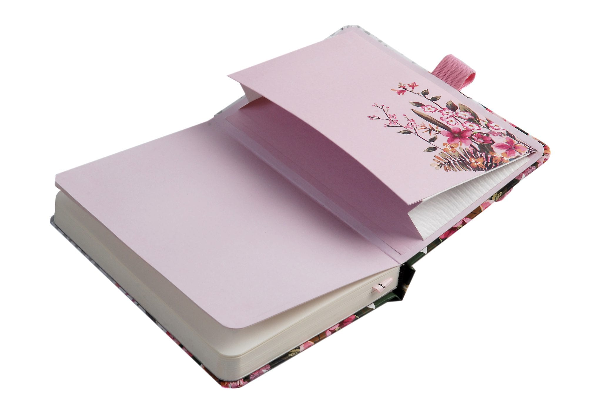 Notebook with pink printed expandable rear envelope