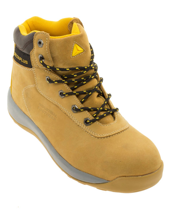Camel coloured lace-up work boots